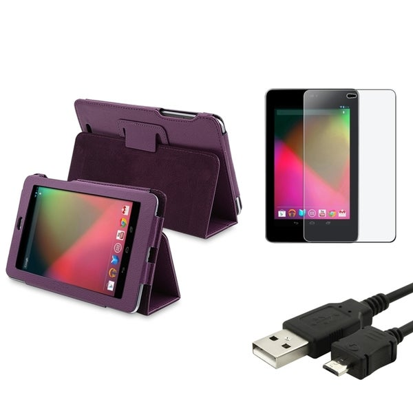 BasAcc Purple Case/Screen Protector/Charger Bundle for Google Nexus 7