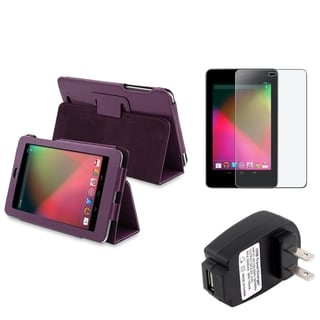 BasAcc Purple Case/ Screen Protector/ Charger for Google Nexus 7