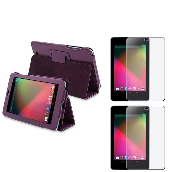 BasAcc Purple Case/ Anti-glare Screen Protector for Google Nexus 7