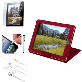 INSTEN Stylus/ Red Case/ Headset/ Protector for Apple iPad 1