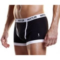 I-Image Men's Hustler Logo Black Elastic Cotton/ Spandex Trunks (Set of 2)