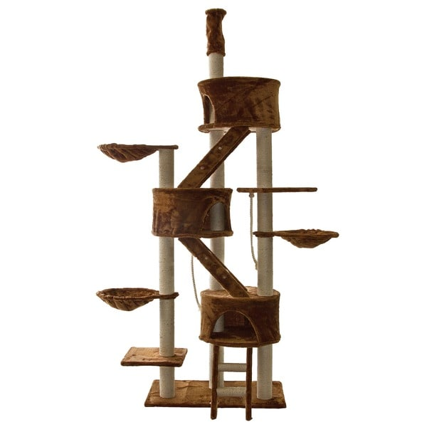 Go Pet Club Brown 92-106 Inches High Huge Cat Tree Furniture