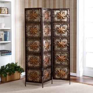 Upton Home Silverstone Black/ Gold 3-panel Decorative Screen