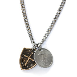 American Coin Treasures Brass Men's Horse and Shield Necklace