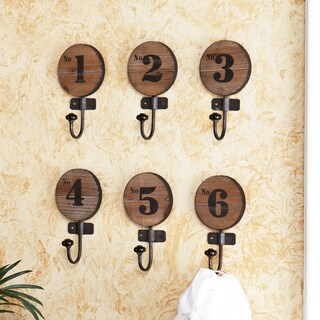 Old World Numbered Wooden Hooks (Set of 6)