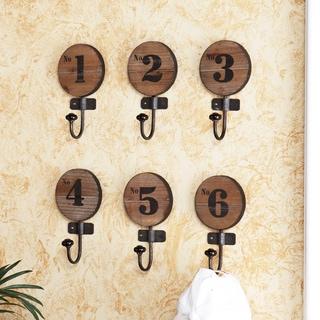 Upton Home Old World Numbered Wooden Hooks (Set of 6)