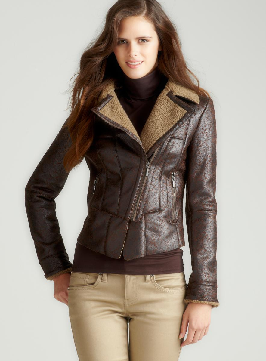 Romeo & Juliet Couture Moto Zip Shearling Jacket