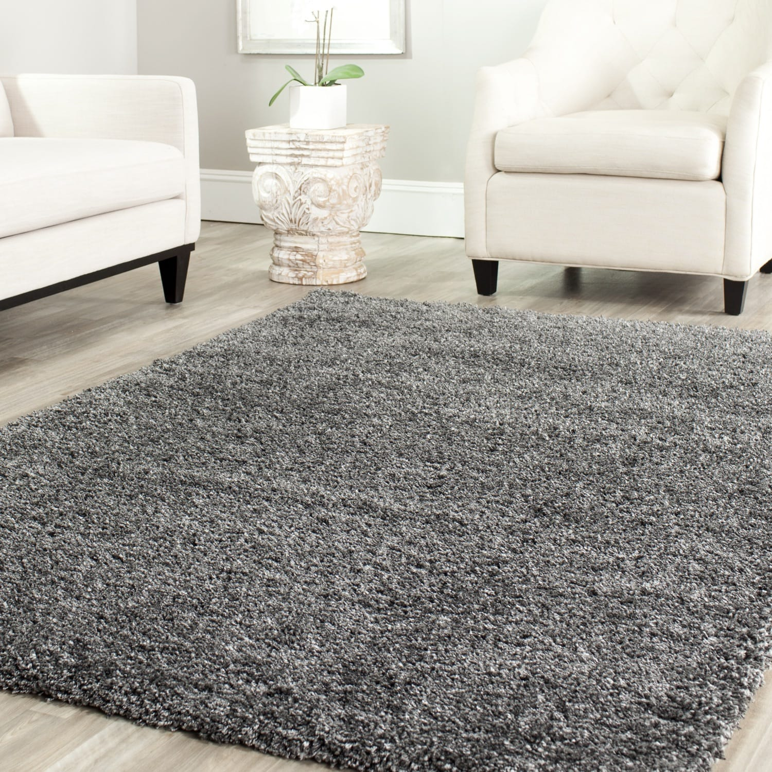 safavieh cozy solid dark grey shag rug overstock