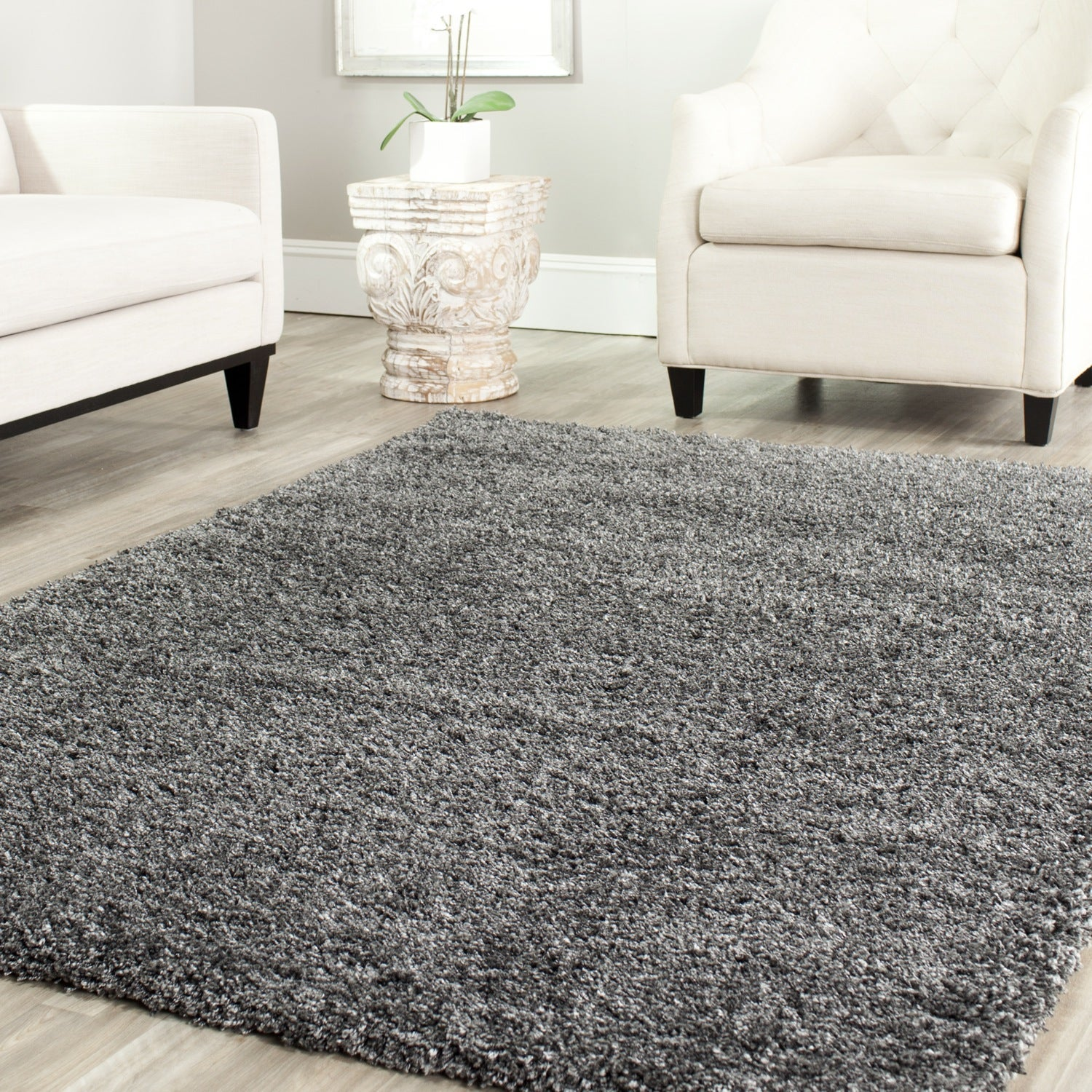 Safavieh Cozy Solid Dark Grey Shag Rug - Overstock Shopping - Great Deals on Safavieh 7x9 ...
