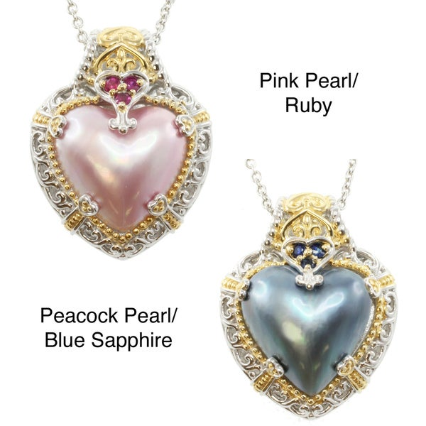 Michael Valitutti Two-tone Mabe Pearl Heart Necklace (16 mm)