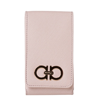 Salvatore Ferragamo '22 A950' Light Pink Embossed Leather iPhone Case