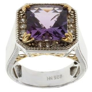 Michael Valitutti Two-tone Silver Amethyst and White Sapphire Ring