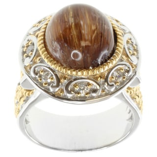 Michael Valitutti Two-tone Silver Rutilated Cat's Eye Ring
