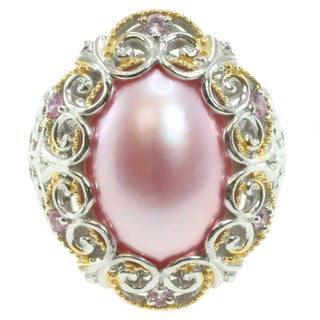 Michael Valitutti Two-Tone Pink Mabe Pearl Ring (12-16 mm)