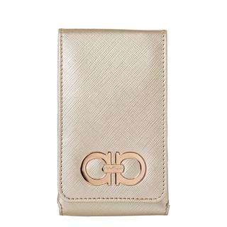 Salvatore Ferragamo '22 A950 A' Gold Embossed Leather iPhone Case