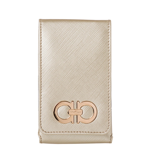 Salvatore Ferragamo '22 A950 A' Gold Embossed Leather iPhone Case