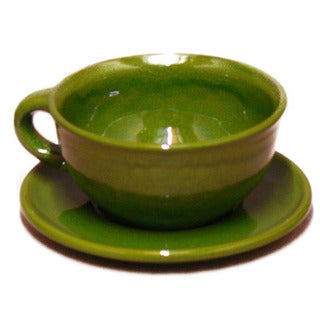 Terafeu French Handmade Provencial Green 16-oz Cafe Au Lait Set