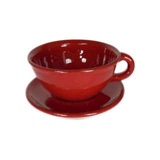 Terafeu French Handmade Provencial Red 16-oz Cafe Au Lait Set