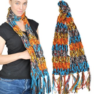 Multicolor Sunset Ccrylic/Recycled Silk Scarf (Nepal)