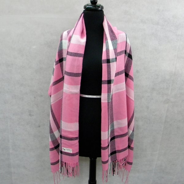 Pink Plaid Pashmina Fringed Fashion Scarf