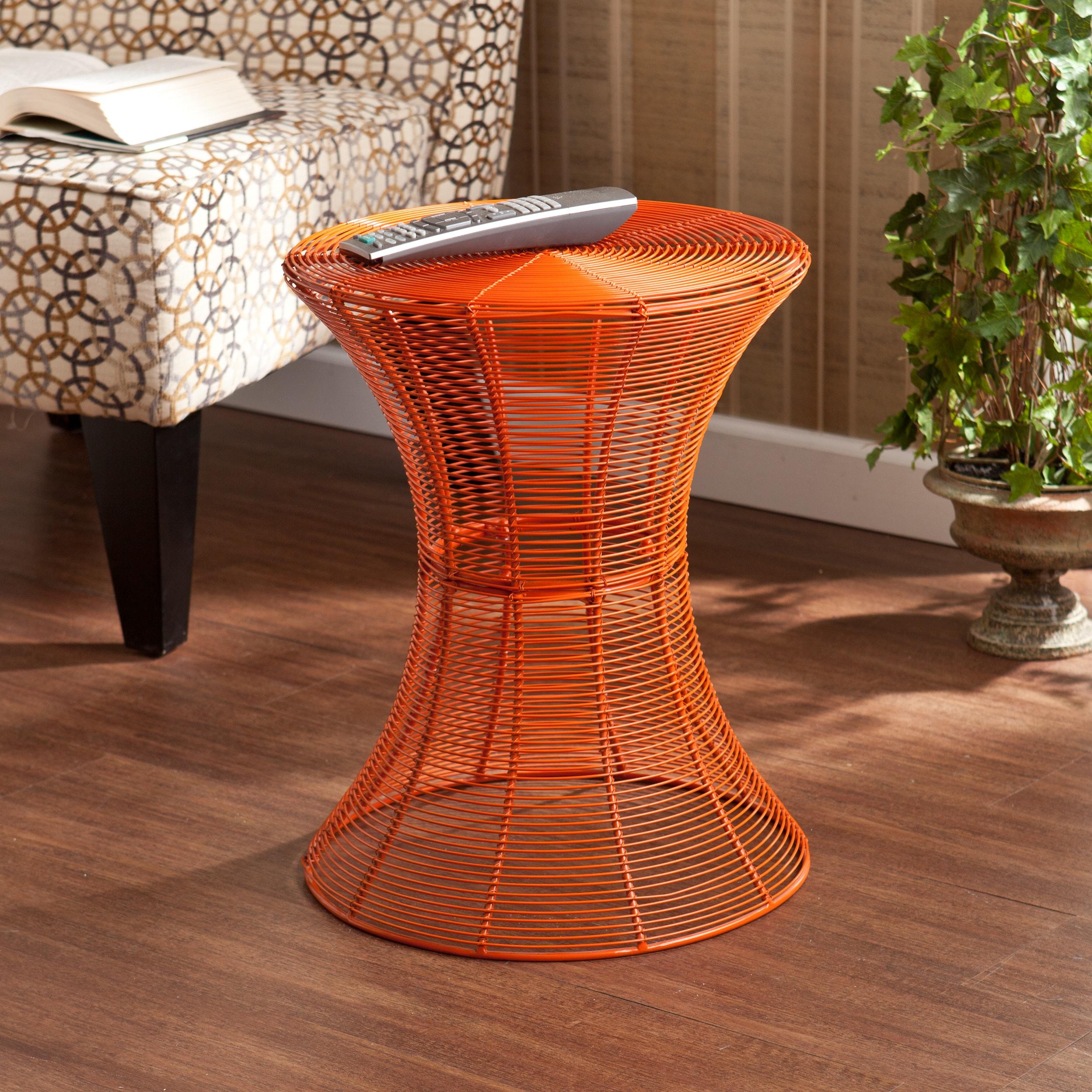 Kayden indoor outdoor orange metal accent table for Orange outdoor side table