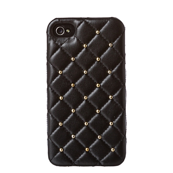 2ME STYLE 'DD052 GOLD' Quilted Leather Studded iPhone 4/4S Case