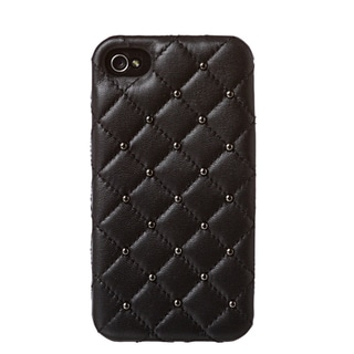 2ME STYLE 'DD053 BLACK' Quilted Leather Studded iPhone 4/4S Case