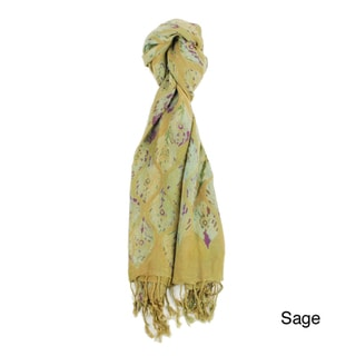 Peacock Feather Print Scarf (Nepal)