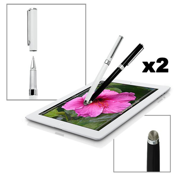 Dual-Purpose Micro-knit Capacitive Stylus and Ink Pen for all Touch Screen Devices (Pack of 2)