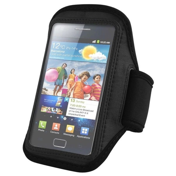 Insten Black Gym Sports Exercise Running Armband for Samsung Galaxy S II/ S4 Mini/ S5 Mini, Apple iPhone 5/ 5S/ 5C