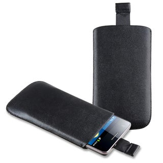 BasAcc Black Leather Pull Pouch for Apple iPhone 5