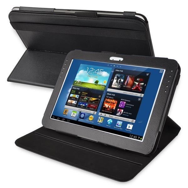 BasAcc Black Leather Swivel Case for Samsung Galaxy Note 10.1 N8000