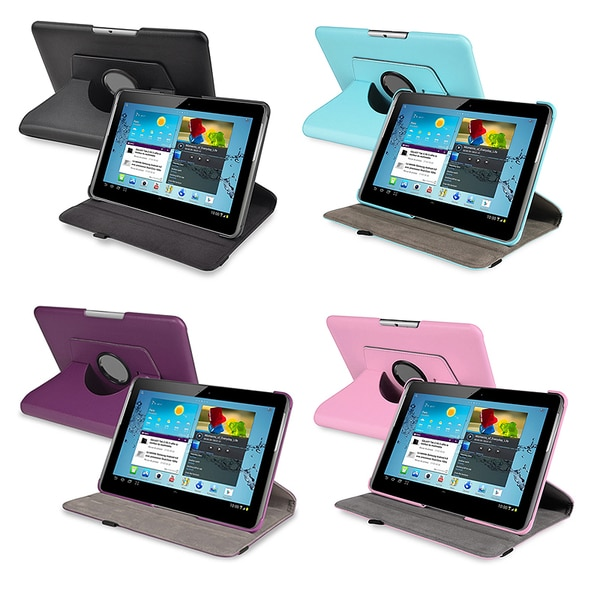 INSTEN Leather Swivel Tablet Case Cover for Samsung Galaxy Tab 2 10.1 P5100/ P5110