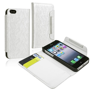 BasAcc White Synthetic-Leather Wallet Case with Card Holder for Apple iPhone 5