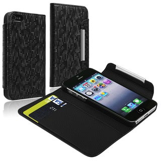 BasAcc Black Leather Wallet Case with Card Holder for Apple iPhoen 5