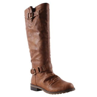 Elegant by Beston Women's 'Dillian-7' Cognac Riding Boots