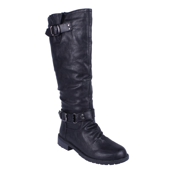Elegant by Beston Women's 'Dillian-7' Black Riding Boots