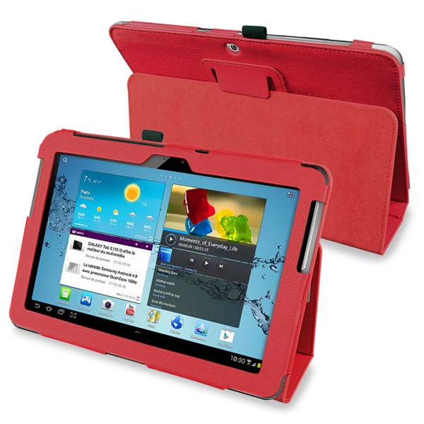 INSTEN Red Tablet Case Cover with Stand for Samsung Galaxy Tab 2 10.1 P5100/ P5110