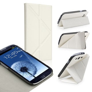 BasAcc White Leather Case with Stand for Samsung Galaxy S III/ S3
