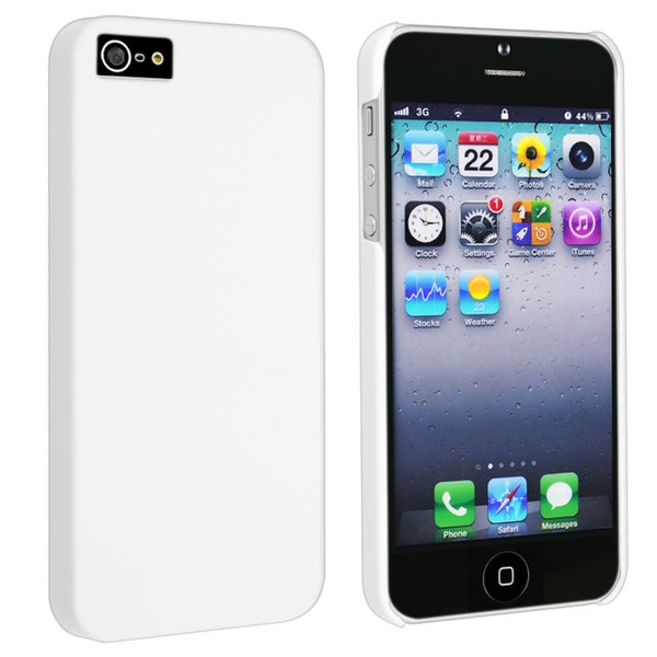 INSTEN White Snap-on Rubber Coated Phone Case Cover for Apple iPhone 5