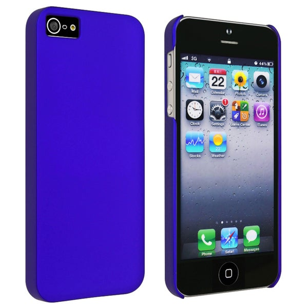 INSTEN Blue Snap-on Rubber Coated Phone Case Cover for Apple iPhone 5