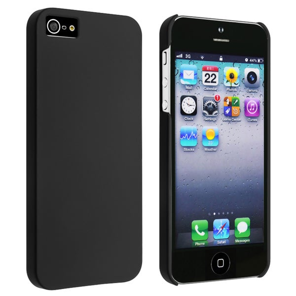 INSTEN Black Snap-on Rubber Coated Phone Case Cover for Apple iPhone 5