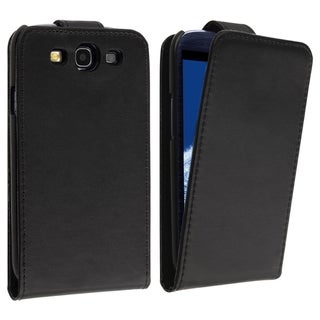 BasAcc Black Leather Flip Case for Samsung� Galaxy S III / S3