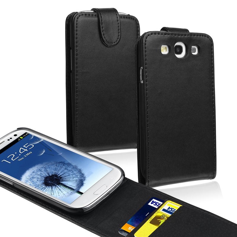 BasAcc Black Leather Case with Card Holder for Samsung� Galaxy S3