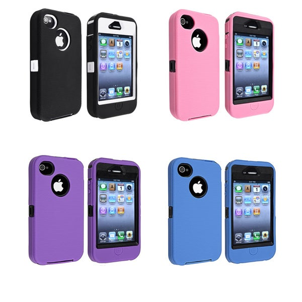 Insten Dual Layer Hybrid Rubber Silicone/ PC Phone Case for Apple iPhone 4/ 4S