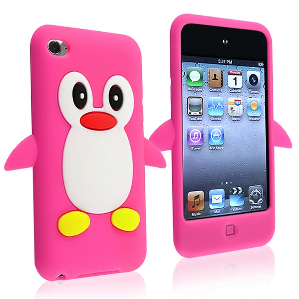 INSTEN Hot Pink Soft Silicone Skin iPod Case Cover for Apple iPod Touch Generation 4
