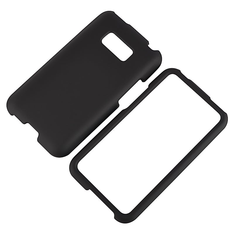 BasAcc Black Snap-on Rubber Coated Case for LG Optimus Elite LS696