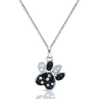14k Gold 1/4ct TDW Black and White Diamond Dog Paw Necklace (G-H, I1-I2)