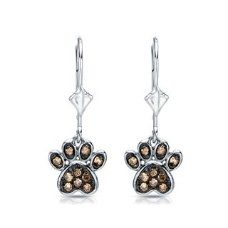 14k Gold 1/4ct TDW Round Brown Diamond Dog Paw Leverback Earrings