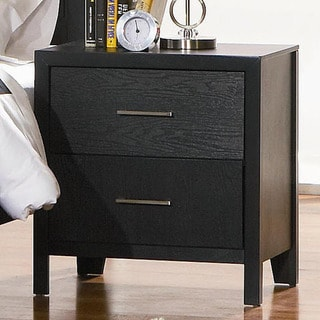 Karpos Black Two-drawer Modern Nightstand